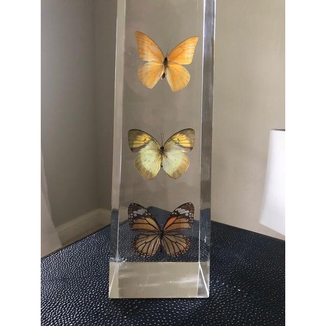 Contemporary Vintage Jonathan Adler Lucite Butterfly Obelisk For Sale - Image 3 of 5