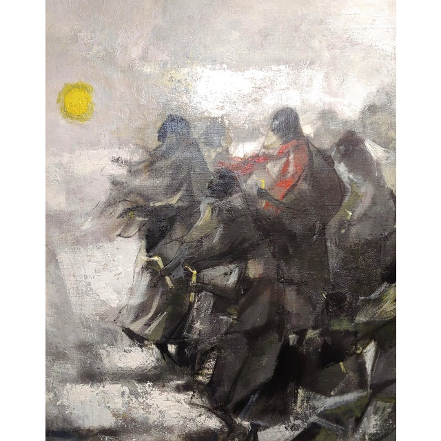 Juan Ruiz Chamizo -Procession of Nuns - Oil Painting C.1965 For Sale - Image 9 of 11
