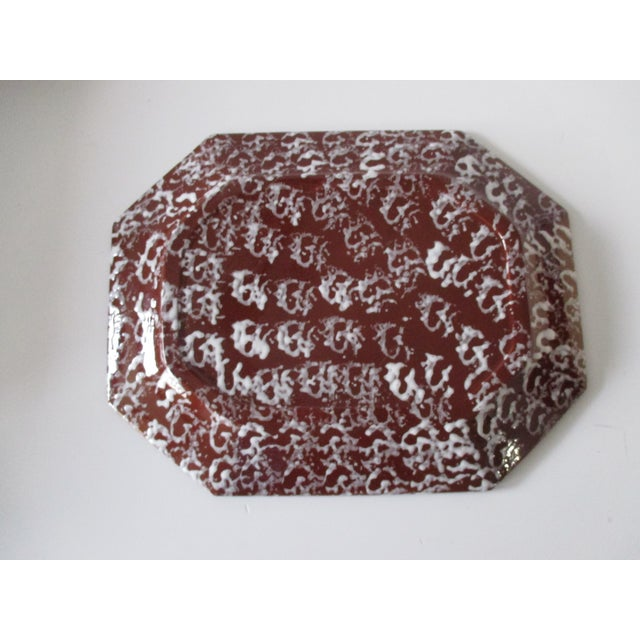 Antique Spongeware Ceramic Platter in White and Brown For Sale - Image 4 of 6