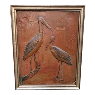 Adjutant Stork Copper Repousse Art by H. Alvin Sharpe, New Orleans For Sale