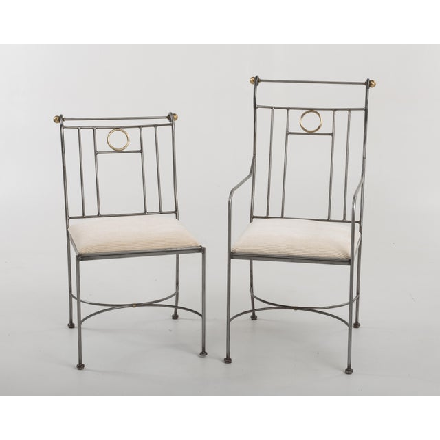 Mid-Century Modern 1970s Italian Mid-Century Steel Brass Dining Chairs - Set of 8 For Sale - Image 3 of 13