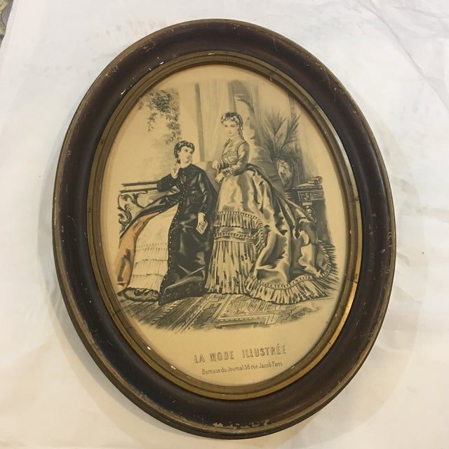 19th Century Oval Frame of French Fashions For Sale - Image 10 of 10