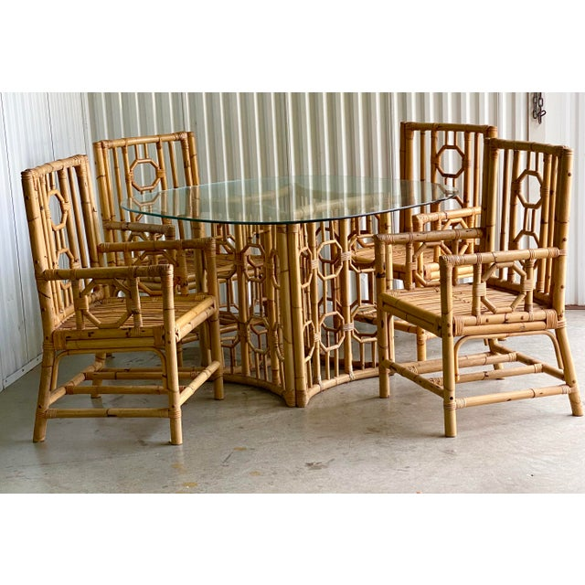 Vintage Medallion Bamboo Dining Table and Chairs - Set of 5 For Sale - Image 4 of 10