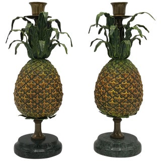 1980s Italian Tole Pineapple Sculpture Candlesticks, Pair For Sale