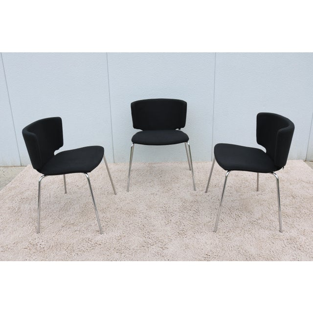 Metal Modern Spain Mark Krusin for Coalesse Wrapp Stackable Black Guest Chair For Sale - Image 7 of 13