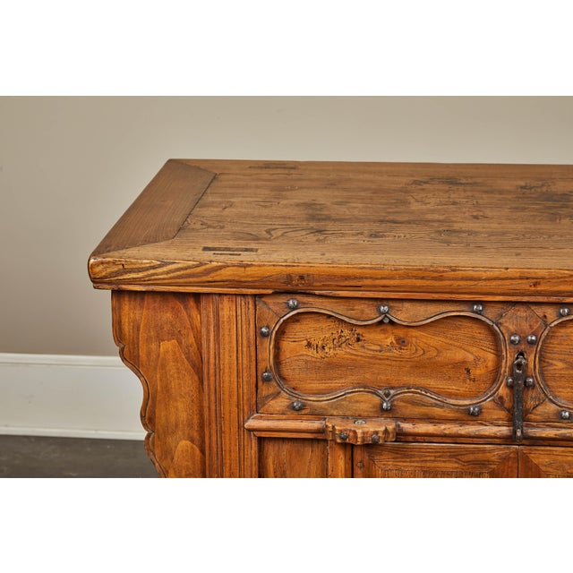 19th C. Chinese Elm Altar Cabinet For Sale - Image 9 of 11