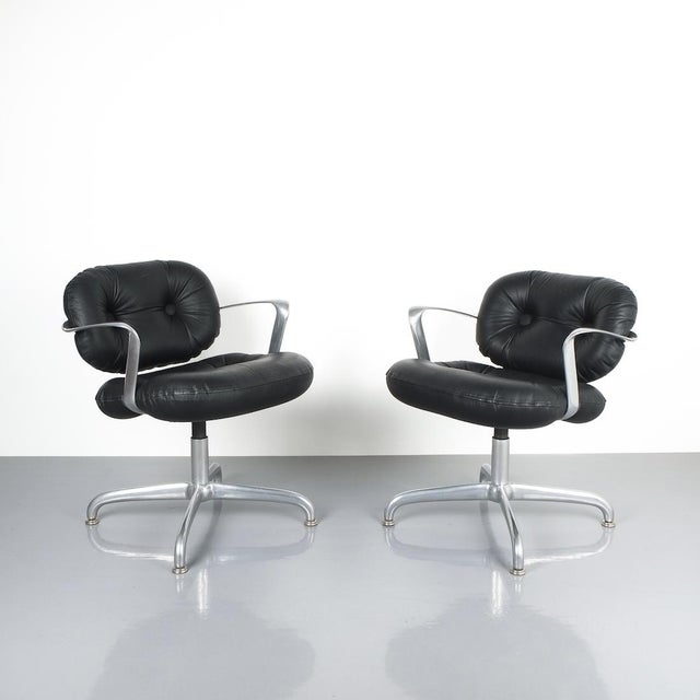 Morrison and Hannah Knoll Office Chairs aluminum Black Leather, 1975 (Andrew Morrison and Bruce Hannah for Knoll) Two (2)...