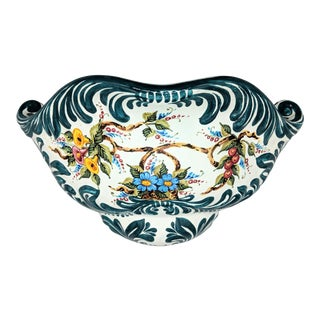Marina Isetta Duval Handpainted Floral Italian Blue and White Wall Sconce