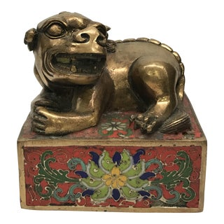 Chinese Foo Dog Bronze & Cloisonné Seal For Sale