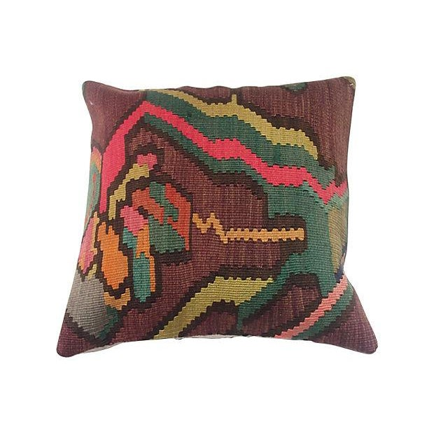 Turkish Kilim Floral Pillow - Image 1 of 4