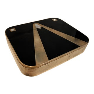 Art Deco Lacquered Black Box with Decorative Brass Inlay - 2 Pieces For Sale