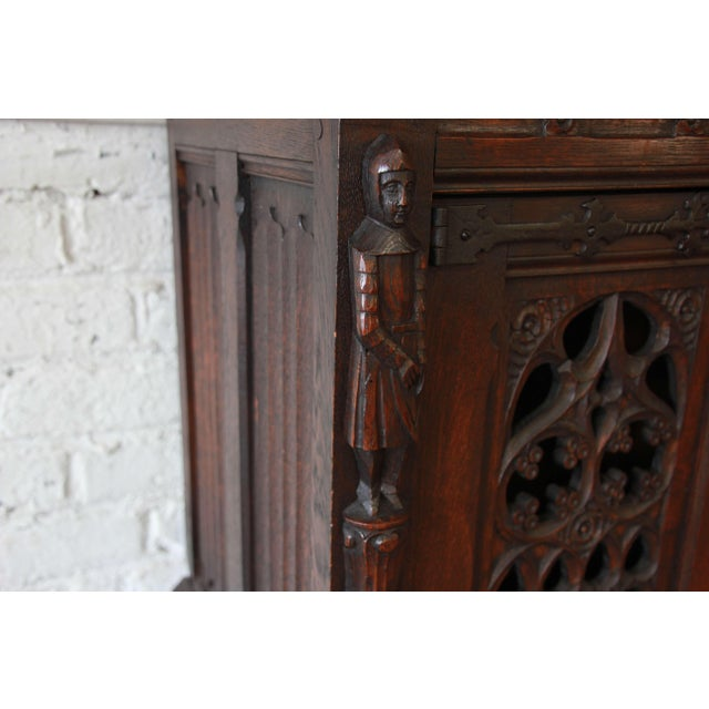 Antique Belgian Dark Oak Gothic Bar Cabinet, Circa 1850s For Sale - Image 5 of 11