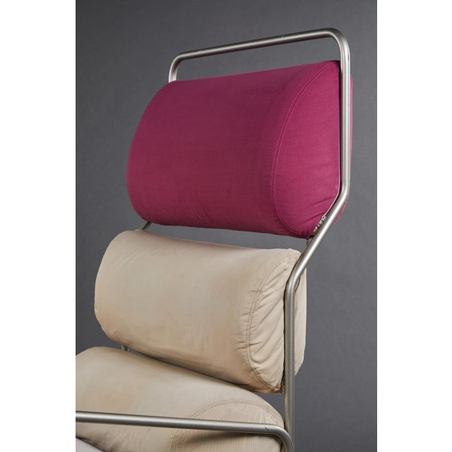 "Pink Pair of Achille Castiglioni ""Sancarlo"" Tubular Metal Chairs for Driade For Sale - Image 8 of 9"