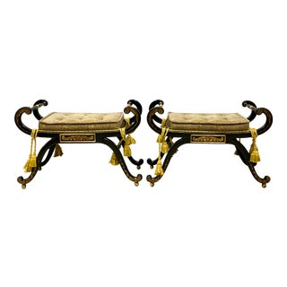 Italian Regency Style Ebony and Gilt Benches - a Pair For Sale