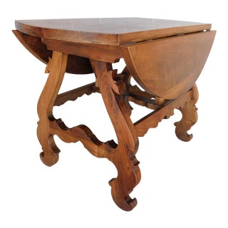 Vintage Custom Black Walnut Spanish Revival Style Drop Side Table 43d X 43w For Sale