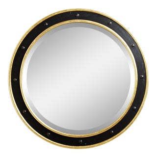 Round Black and Gold Porthole Mirror For Sale