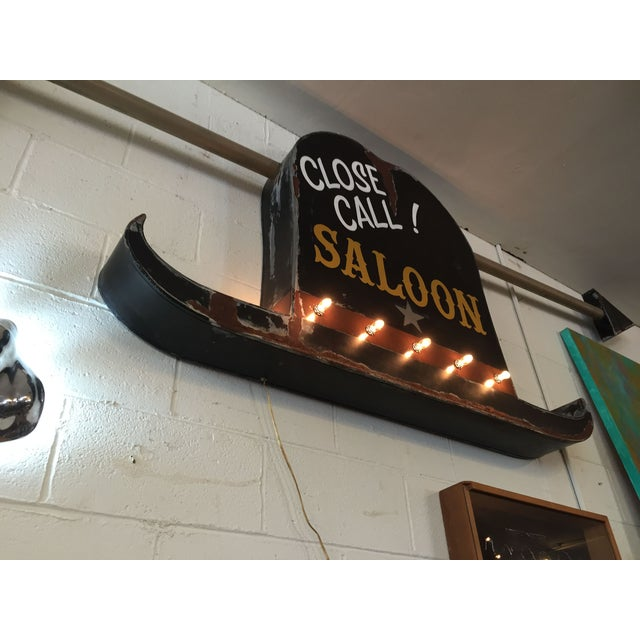 Vintage 40s Style Western Close Call Saloon Sign - Image 10 of 11