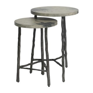 Faux Bois Marbled Gray-Toned Accent Tables - Set of 2