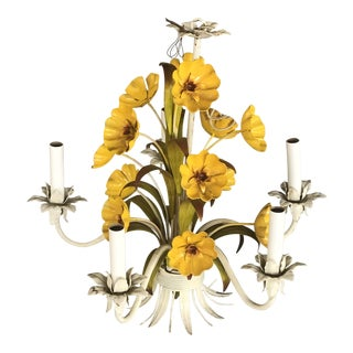 1960s Yellow Floral Tole Chandelier For Sale