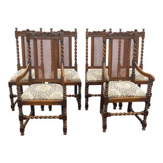 1950s Vintage Spanish Style Barley Twist Dining Room Chairs- Set of 6 For Sale