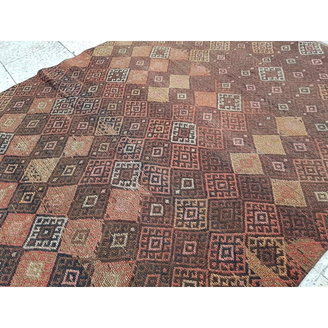 "Distressed Vintage Turkish Soumac Rug 4'2"" X 6'3"" For Sale - Image 4 of 8"