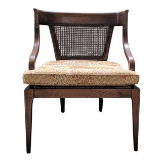 1970s Vintage Walnut Cane Barrel Chair For Sale