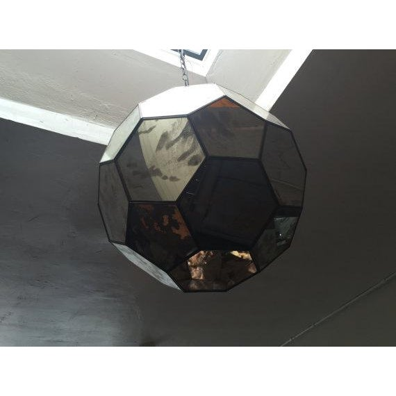 Mid-Century Modern Mid-Century Mirrored Hexagon Hanging Lamp For Sale - Image 3 of 6