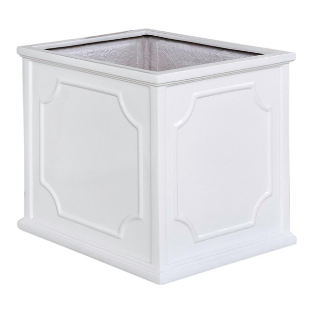 Thorney Square Planter, Small, Glossy White For Sale