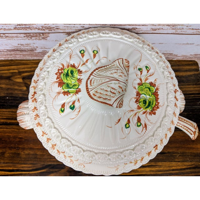 1960s Vintage Hand-Painted Italian Soup Tureen & Spoon - 2 Pieces For Sale - Image 4 of 7