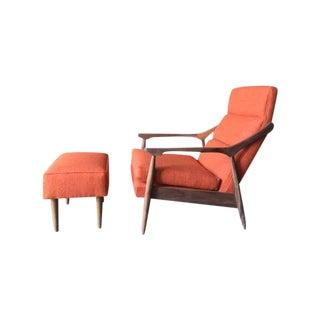 Custom Mid Century Lounge Chair With Ottoman
