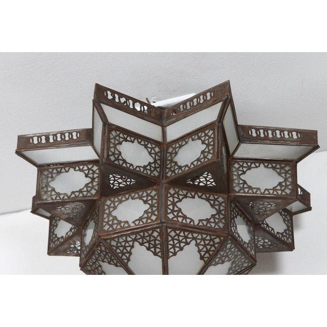 Moroccan hanging star pendant shade. handcrafted Moroccan Spanish style metal frame and frosted glass with delicate...