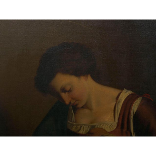 """""""Madonna & Child"""" 19th Century Copyist Oil Painting After Orazio Gentileschi For Sale - Image 12 of 13"""