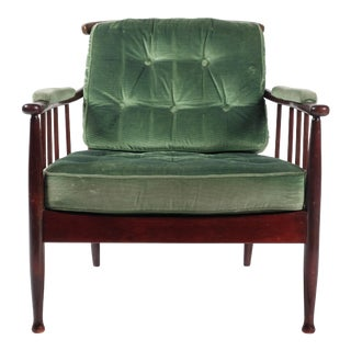 Ope Green Velvet Arm Chair For Sale