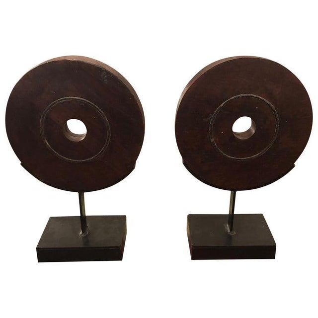 Brown 1970s Rustic Striking Carved Wood Circle Motife Sculptures - a Pair For Sale - Image 8 of 8