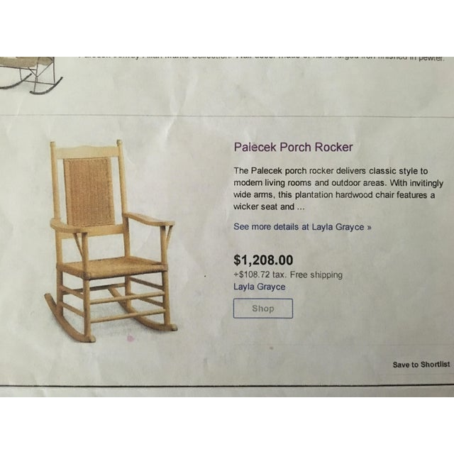 Country Palecek Distressed White Rocking Chair For Sale - Image 3 of 4