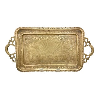 Vintage Brass Etched Peacock Tray With Handles For Sale