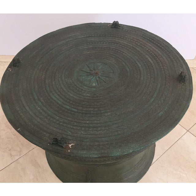 Asian Cast Bronze Rain Drum with Glass Top Coffee Table For Sale - Image 4 of 11