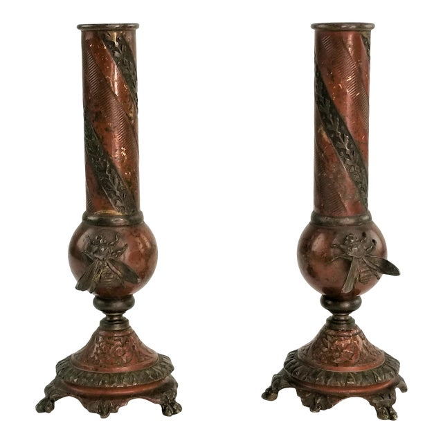 Pair of French Champlevé Bud Vases - Enamel Gilt Bronze Brass Bud Vases For Sale