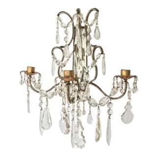 Antique French Bronze Gilt and Crystal Glass Prisms Wall Candle Holder Sconce For Sale