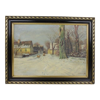 1930s Snow in the Village Landscape For Sale