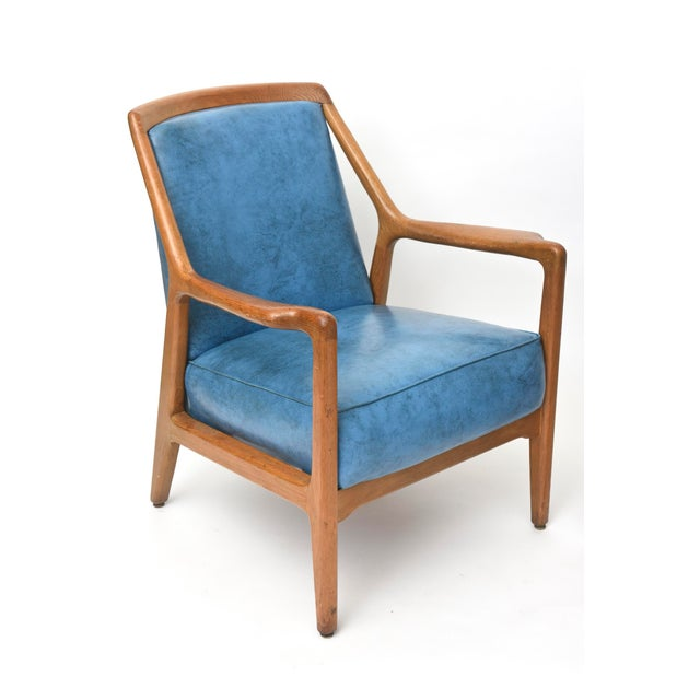 Blue Pair of Italian Modern Walnut Armchairs, Carlo de Carli For Sale - Image 8 of 11