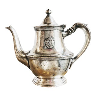 1952 Hollywood Regency Plaza Hotel Silver Plated Teapot For Sale