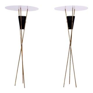 Sultry Tripod Torchieres Two Floor Lamps in Brass 1960s Sexy Modern Twist For Sale
