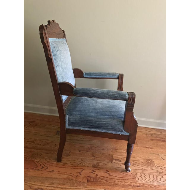 Blue Velvet Eastlake Chair For Sale - Image 4 of 9