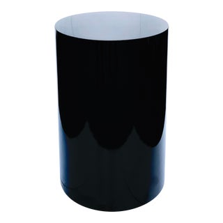 1980s Glossy Black Cylinder Pedestal For Sale