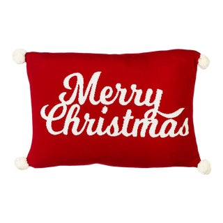 """Red & White """"Merry Christmas"""" Knit Pillow With Pom Poms by Kenneth Ludwig Chicago For Sale"""