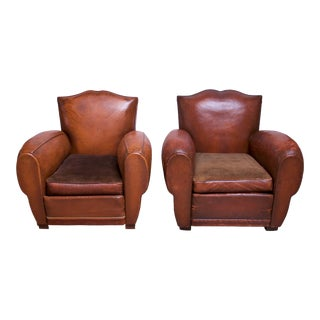 Pair of Vintage French Leather 'Mustache' Club Chairs For Sale