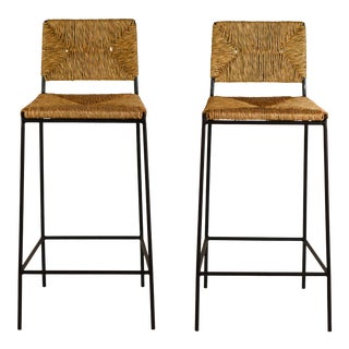 Pair of 'Campagne' Counter Height Stools by Design Frères For Sale