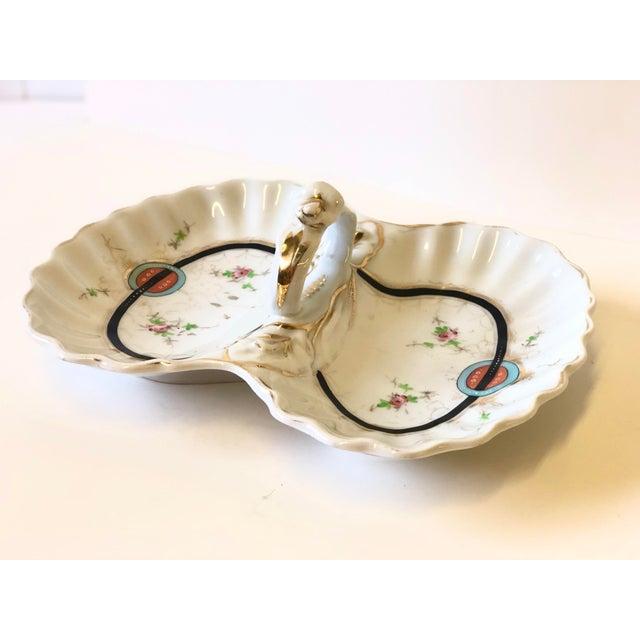 Art Deco Kpm Porcelain Double Bowl Serving Dish With Handle For Sale - Image 9 of 12