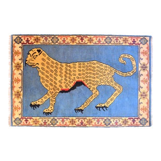 1980s Vintage Turkish Leopard Hunting Design Rug- 4′ × 6′ For Sale